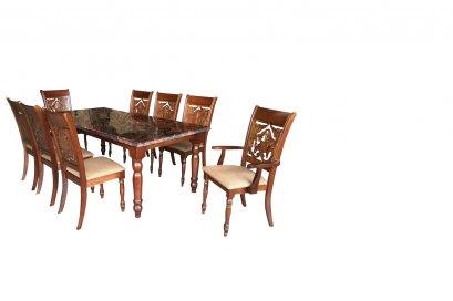 ชุดโต๊ะอาหารไม้จริงหน้าหิน 8 ที่นั่ง