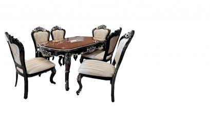 ชุดโต๊ะอาหารหน้าไม้ 6 ที่นั่ง