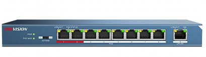 DS-3E0109P-E : 8Port  100M Ethernet Ports, 1 100M uplink port, 802.3af/at, PoE power budget 123W