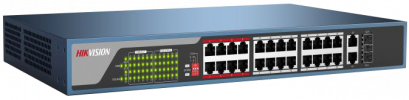 DS-3E0326P-E : 24 100M Ethernet Ports, 2 1000M uplink port, 802.3af/at, PoE power budget 370W