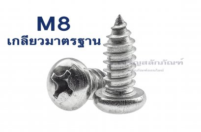 สกรูเกลียวปล่อยสแตนเลสหัวกลมแฉก M8x60