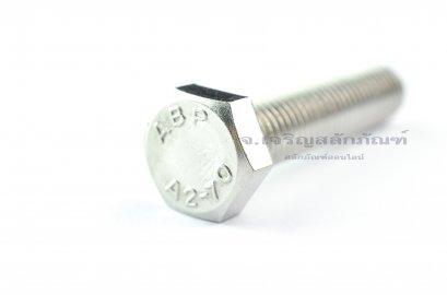 น็อตหัวเหลี่ยมสแตนเลส Stainless Steel Hex Bolt M12x55