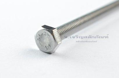 น็อตหัวเหลี่ยมสแตนเลส Stainless Steel Hex Bolt M6x130 (น็อตเบอร์ 10)