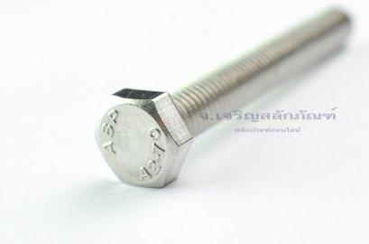 น็อตหัวเหลี่ยมสแตนเลส Stainless Steel Hex Bolt M8x60