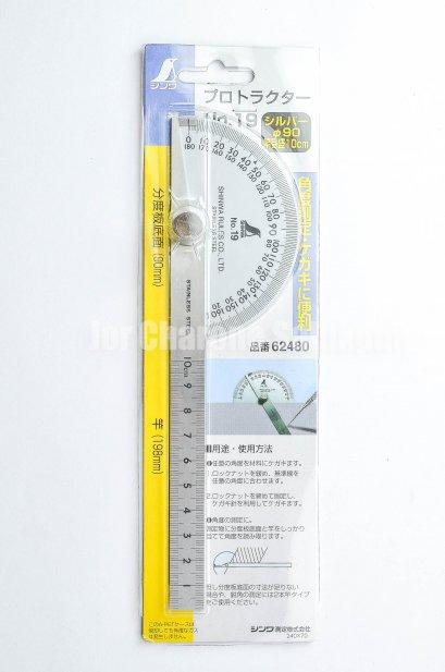 จานวัดองศา Protractor สแตนเลส SHINWA NO.19