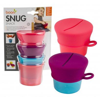 ถ้วยใส่ขนมพร้อมฝาปิด สีชมพู Boon Snug Snack