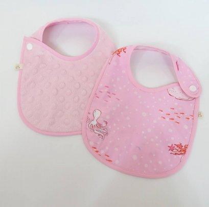 ผ้ากันน้ำลาย Mermaid Pink / Minky Dot Pink