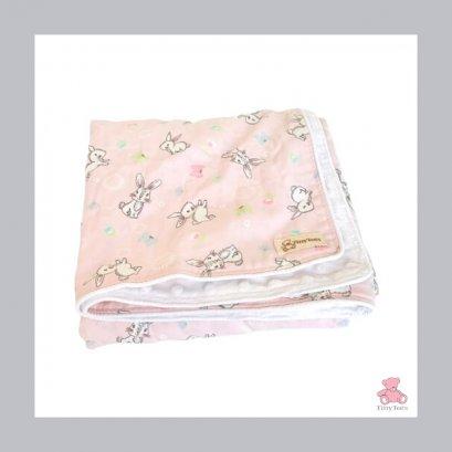 ผ้าห่มเด็ก Minky Dot Snow / Bunny Pink