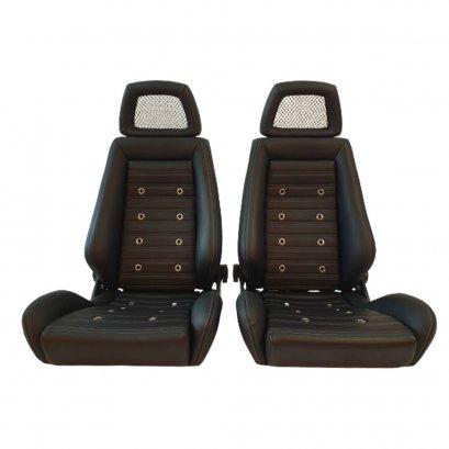 2 Used AUTHENTIC RECARO LX Leather Net Headrest seats RACING HONDA PORSCHE AUTO CARS