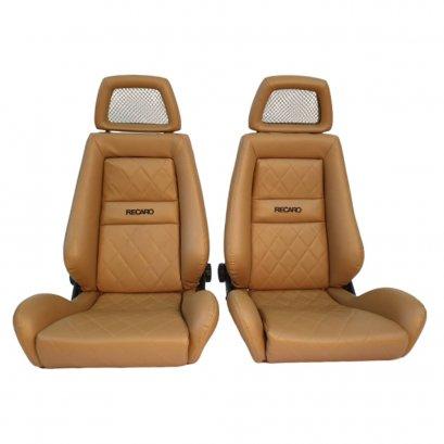 2 Used JDM RECARO LX Net Headrest Tan Synthetic Leather seats RACING HONDA PORSCHE AUTO CARS(copy)