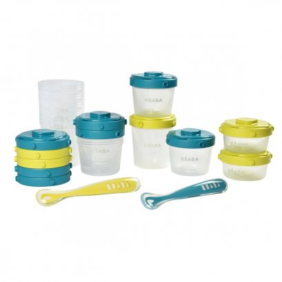 Beaba - Set of portions clip+1st age silicone spoon ( Neon / Blue )