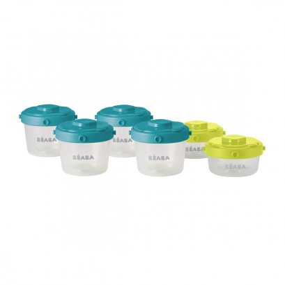 Beaba - Portions 1st age 60ml+120ml Set 6 pcs. ( Blue / Neon )