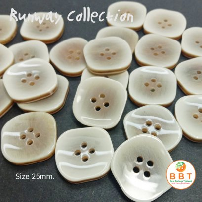 Square Buttons Brown Two Tone 25 mm