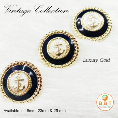 Gold anchor button 20 mm