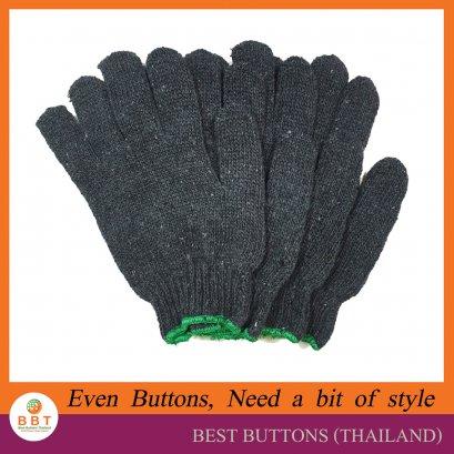 ถุงมือผ้าฝ้าย สีเทาขอบเขียว