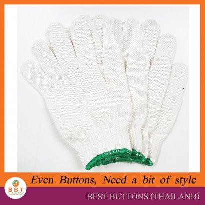 ถุงมือผ้าฝ้าย ขอบเขียว