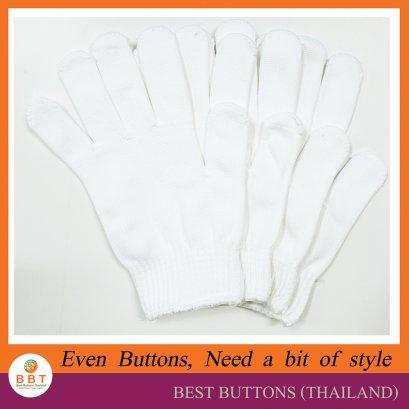 ถุงมือผ้าฝ้าย ขอบขาว