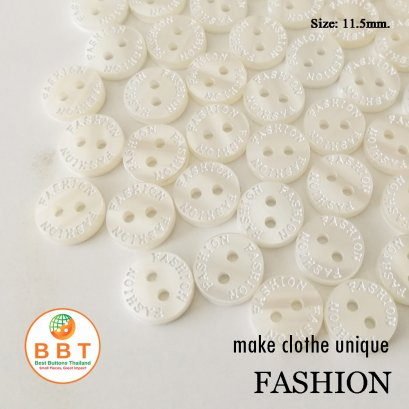 "Engraving Buttons ""FASHION"" on Ivory Buttons"
