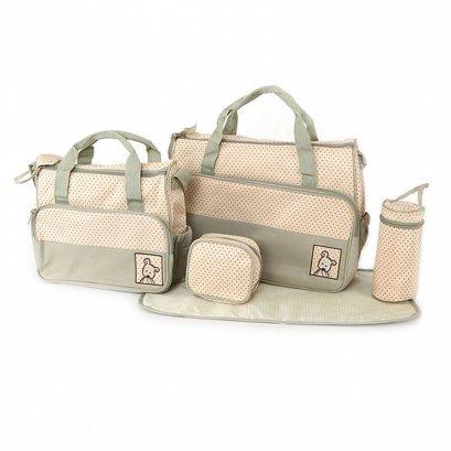 กระเป๋าสัมภาระคุณแม่ เชต 5 ชิ้น สีเขียวอ่อน