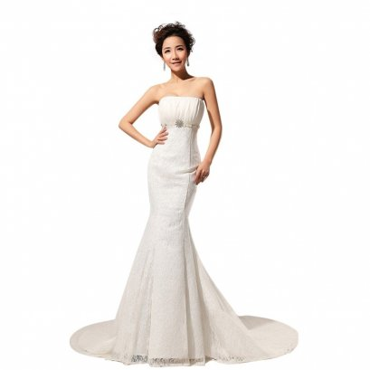 Trumpet/Mermaid Strapless Chapel Train Lace Wedding Dress (White) - Intl
