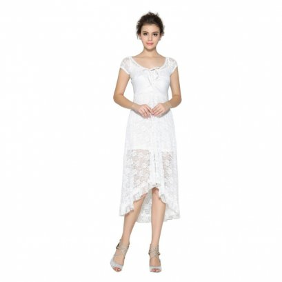 ZigZagZong Bridesmaid Wedding Floral Lace Women's Evening Party High Low Dress (White)