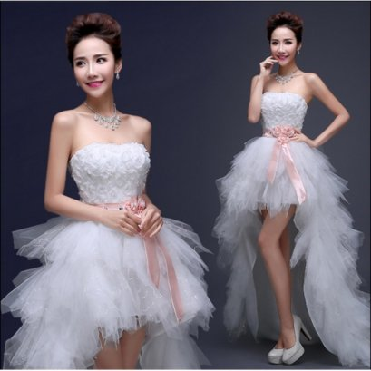 Unique White Tulle Short Front Long Back Wedding Dress Knee Length Bridal Gown - intl