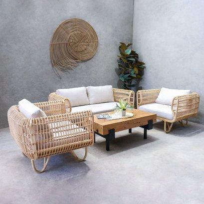 Natural rattan living set