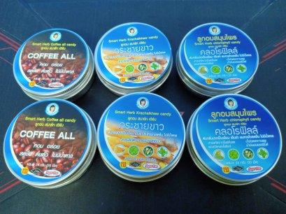 เม็ดลูกอมสมาร์ทเฮิร์บคละรสชาติ  (กาแฟ 2,คลอโรฟิลล์ 2 ,กระชายขาว2) ขนาด 35 กรัม  6 ตลับ