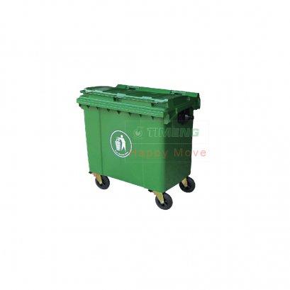 24762 รถเข็นถังขยะ 4 ล้อสีเขียว จุ 660 ลิตร