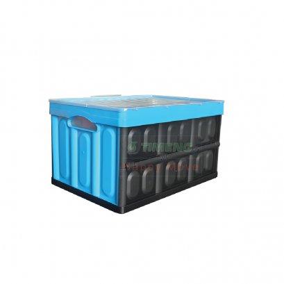 41790 กล่องพลาสติกสีดำพับได้พร้อมฝาสีฟ้า