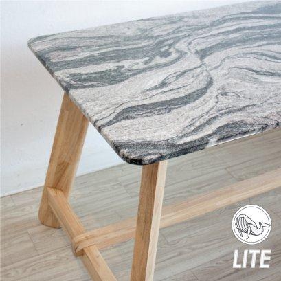 โต๊ะกินข้าวขาไม้ท็อปหินแกรนิต มหาสมุทร
