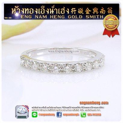 แหวนเพชรแท้ ตัวเรือนทองคำขาวใส่ติดนิ้วค่ะ