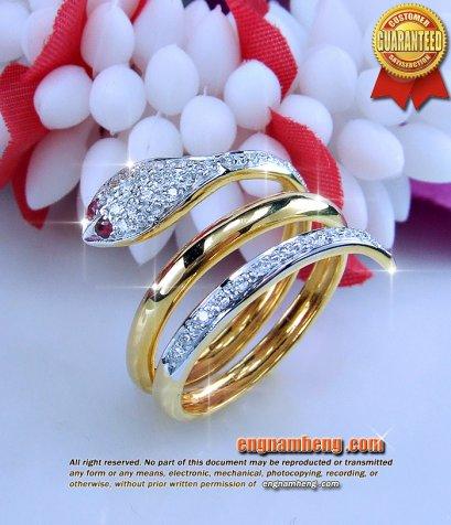 แหวนทองคำดีไซน์รูปงู ประดับทับทิมและเพชรแท้เบลเยี่ยมคัท น้ำ 99%