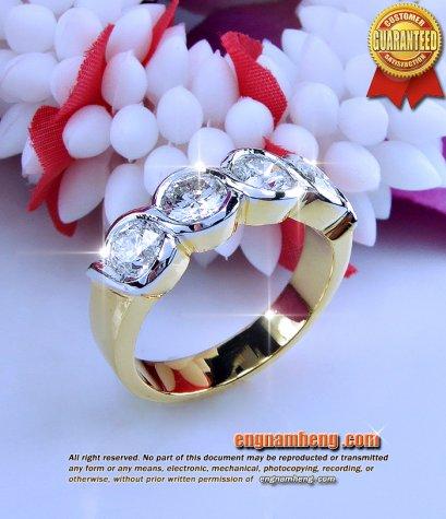 แหวนเพชรเรียง เบลเยี่ยมคัท น้ำ 98% F-Color/VVS 2.04 กะรัต