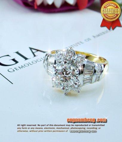 แหวนเพชรเบลเยี่ยมคัท น้ำ 99% E-Color/VVS เพชรทั้งหมด 2.26 กะรัต