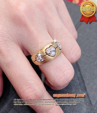 แหวนเพชรแท้รูปหัวใจ เพชรเบลเยี่ยมคัท น้ำ 99% E-Color/VVS