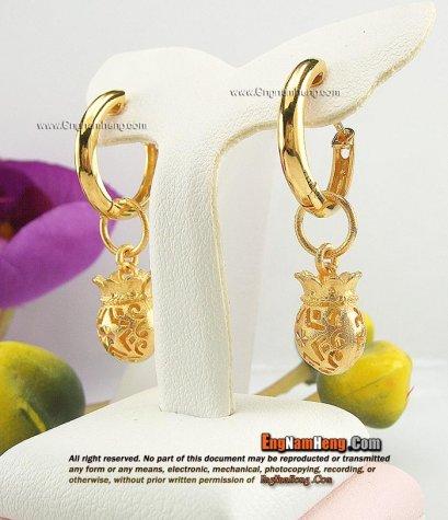 ต่างหูทองแท้ 90 เปอร์เซ็นต์ ห้อยถุงทอง ใส่ได้ 2 แบบค่ะ