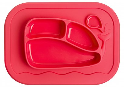 Silicone Whale Food Tray Mat - Coral Red