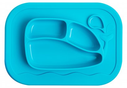 Silicone Whale Food Tray Mat - Light Blue