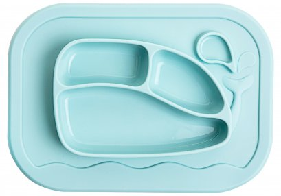 Silicone Whale Food Tray Mat - Pastel Mint
