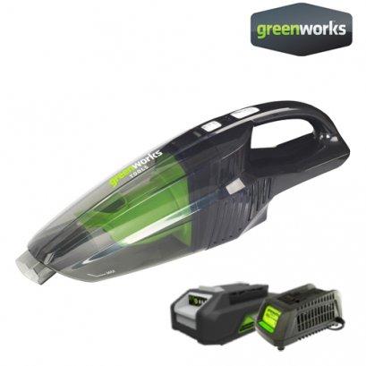 Greenworks เครื่องดูดฝุ่นไร้สาย ขนาด 24V พร้อมแบตเตอรี่ 2Ah และแท่นชาร์จ