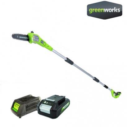 Greenworks เครื่องตัดกิ่งไม้สูงไร้สาย ขนาด 24V พร้อมแบตเตอรี่และแท่นชาร์จ