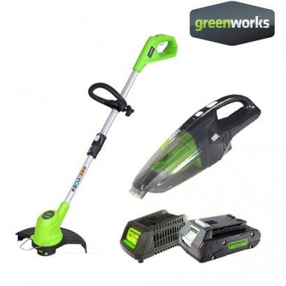 Greenworks เครื่องตัดหญ้า 24V พร้อมแบตเตอรี่และแท่นชาร์จ ฟรี! เครื่องดูดฝุ่นไร้สาย ขนาด 24V (มูลค่า 1,600 บาท)