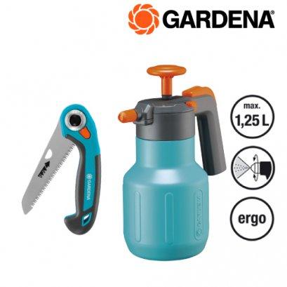 Gardena ถังพ่นน้ำ ขนาดความจุ 1.25 ลิตร + เลื่อยมือตัดกิ่ง ยาว 8 นิ้ว