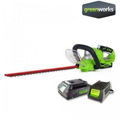 Greenworks เครื่องเล็มพุ่มไม้ ขนาด 24V พร้อมแบตเตอรี่และแท่นชาร์จ
