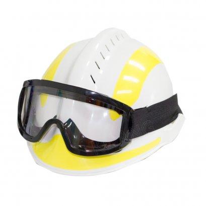 KYOWA หมวกเซฟตี้พร้อมแว่นและที่ล็อคไฟฉาย สีขาว/เหลือง