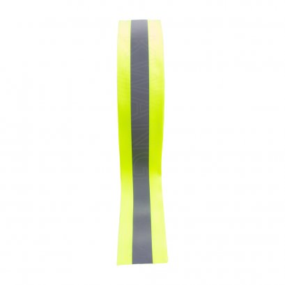 """KYOWA แถบผ้าสะท้อนแสง(หนา)ขนาด2""""x100m.สีเหลืองคาดเทา"""