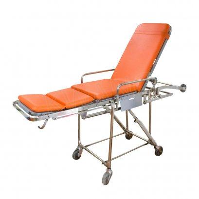 เตียงรถเข็นพยาบาล ปรับนั่งได้ (สแตนเลส)