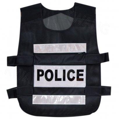 KYOWA เสื้อกั๊กตำรวจ สีดำ