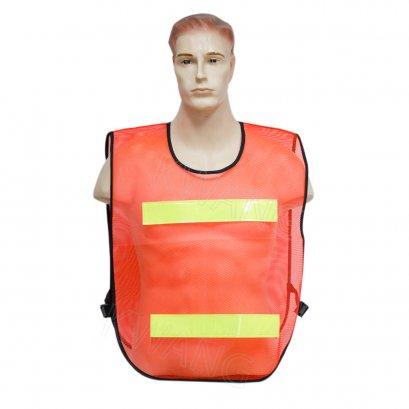 KYOWA เสื้อสะท้อนแสงตาข่ายสีส้ม 2 แถบ